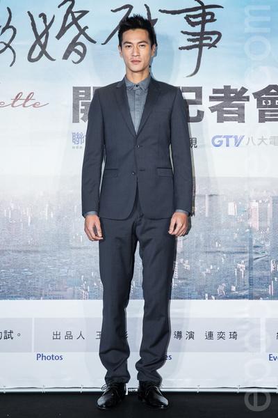 電視劇「徵婚啟事」12月23日在台灣台北市舉行開拍記者會,主要演員鍾承翰出席與會,為新戲宣傳。(陳柏州/大紀元)