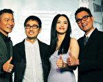《风暴》主创在庆功宴上的合影。左起:刘德华,袁锦麟,姚晨,林家栋。(华映娱乐提供)