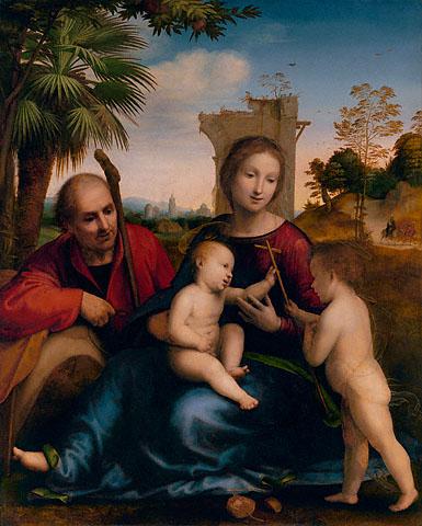 """意大利文艺复兴时期油画大师弗拉‧巴托洛梅奥(Fra Bartolommeo)的""""前往埃及途中""""(Rest on the Flight to Egypt)系列关于圣母与耶稣基督一家人至埃及的画作。(The J. Paul Getty Museum)"""