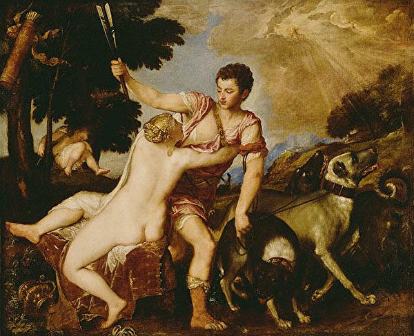 """意大利文艺复兴后期的威尼斯画派大师提香(Titian)的""""维纳斯和阿多尼斯""""(Venus and Adonis)名画。(The J. Paul Getty Museum)"""