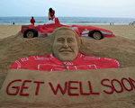 印度的粉丝堆沙雕祝福舒马赫康复 (STRDEL/AFP/Getty Images)