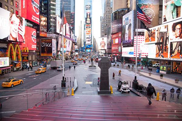 2014.1.7纽约遭遇20年一遇的低温天气。纽约时代广场不见昔日的人潮涌动。(戴兵/大纪元)