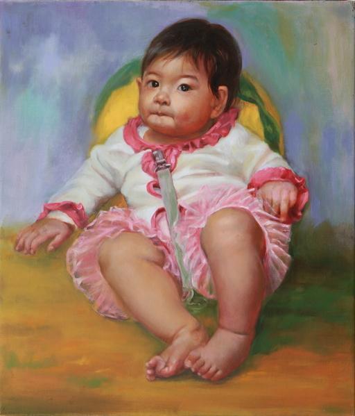 教畫的林老師曾以《找回正統藝術》獲得新唐人電視臺第三屆「全世界華人人物寫實油畫大賽」優秀獎,她的作品《媽媽與寶貝》、《小貝快快長大 》最近參加展覽也深獲好評。圖為《小貝快快長大 》。(林老師提供)