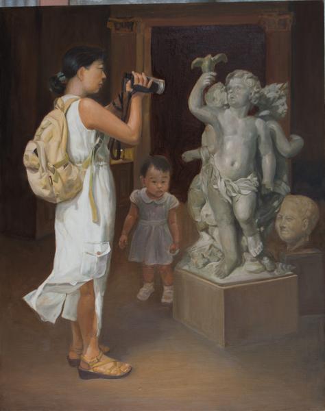 教畫的林老師曾以《找回正統藝術》獲得新唐人電視臺第三屆「全世界華人人物寫實油畫大賽」優秀獎,她的作品《媽媽與寶貝》、《小貝快快長大 》最近參加展覽也深獲好評。圖為《找回正統藝術》。(林老師提供)
