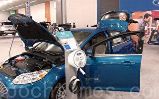 硅谷国际车展上展出的福特的充电式混合动力车Fusion。(周克/大纪元)