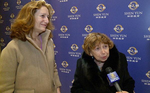 活躍於大紐約地區媒體名流法爾斯通(Lilian Firestone,右)與女兒格德(Risa Gold) (大紀元圖片)