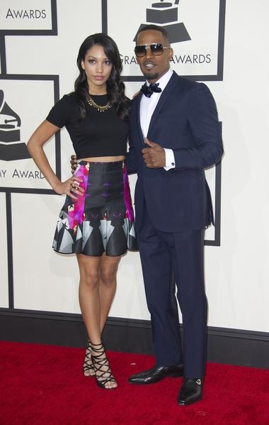 演員傑米•福克斯與19歲的女兒科琳•畢肖普(ROBYN BECK/AFP)