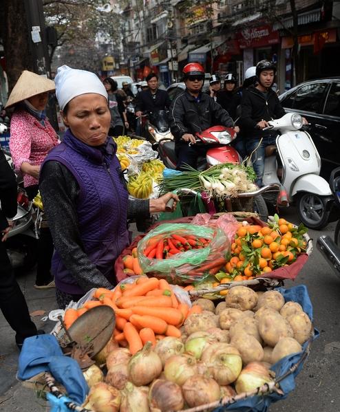 2014年1月21日,越南河内,路旁贩售食材的摊位货源充足。(HOANG DINH Nam/AFP)