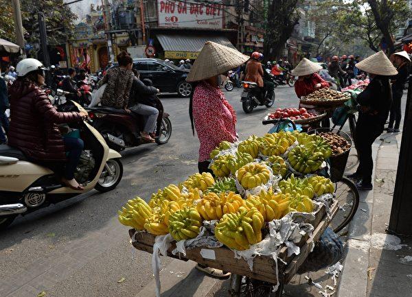 2014年1月21日,越南河内,道路两旁小贩贩售花卉和食品。(HOANG DINH Nam/AFP)