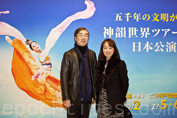 """声乐爱好者佐佐木聪(Sasaki Satoshi)先生偕同夫人一起前往观赏,佐佐木看完演出后按捺着激动说出自己的感受,""""无法言语的、从未有过的感动。""""(余钢/大纪元)"""