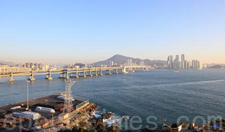 韩国釜山海云台海景。(全宇/大纪元)