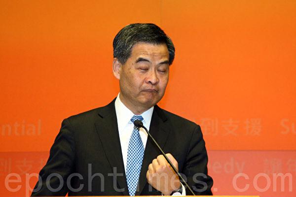 梁振英上任以來,被外界認為執行中共旨意不斷破壞香港言論、新聞和資訊自由的等核心價值。(潘在殊/大紀元)