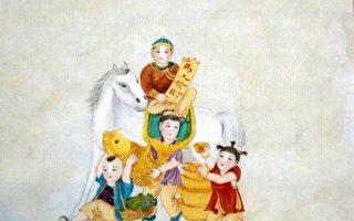 中華傳統畫家章翠英畫作-馬上發財。(作者提供)