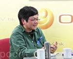 记协主席岑倚兰指香港新闻言论自由愈来愈收窄,吁市民踊跃出席23日的反灭声大游行。(蔡雯文/大纪元)