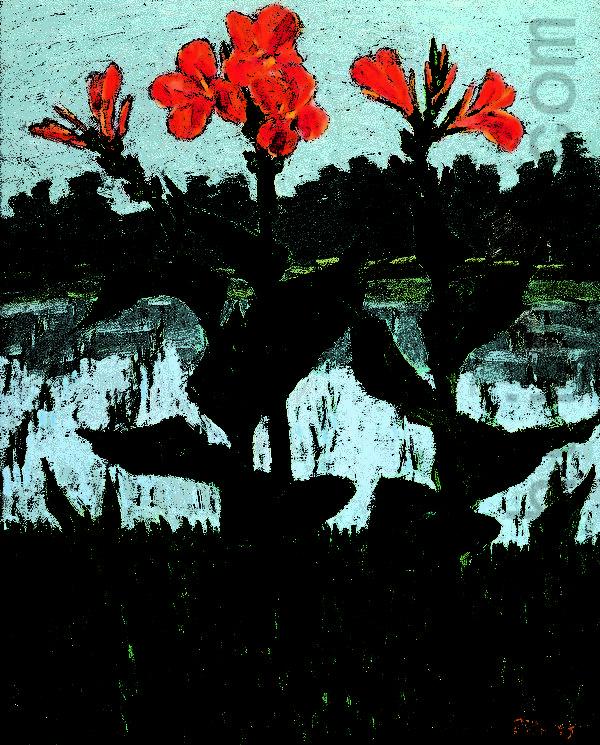 林国治1985年的油画作品《美丽的乡村》。(玉明油画室提供)