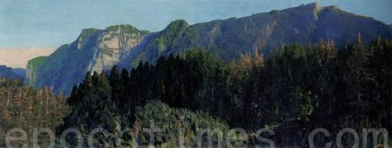 林国治2002年的《塔山晨景》名作。(玉明油画室提供)
