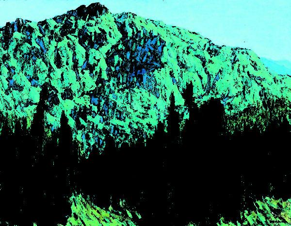 林国治1984年荣获全省公教展油画专业组第二名的创作《阿里山晨景》。(玉明油画室提供)