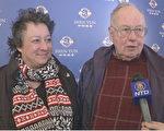 大学助理教授(物理)Hedi Loiseau和退休数学教师Roger结伴观看了2014年3月8日晚上神韵世界艺术团在康州沃特伯里市的第三场演出,他们表示整个演出都充满很高的艺术性,展现了非常有意思的传统文化,应推荐学生观看。(大纪元图片)
