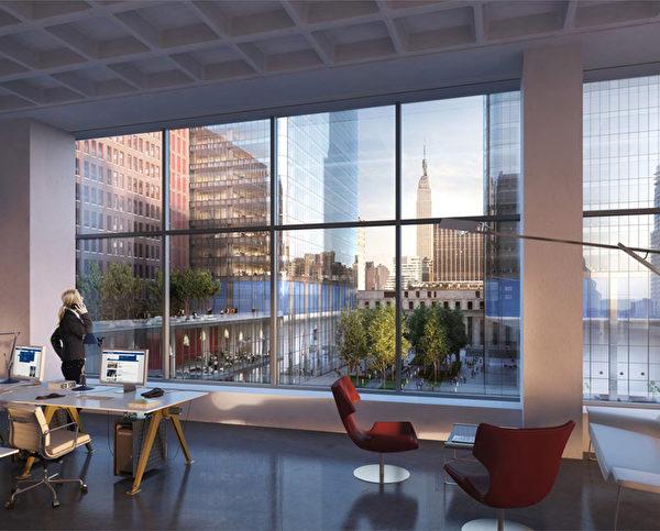 位于曼哈顿33街西450号的办公大楼内部模拟题。(布鲁克菲尔德集团办公室提供)