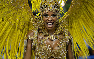 巴西里约热内卢狂欢节游行中华丽的服饰。(YASUYOSHI CHIBA/AFP)