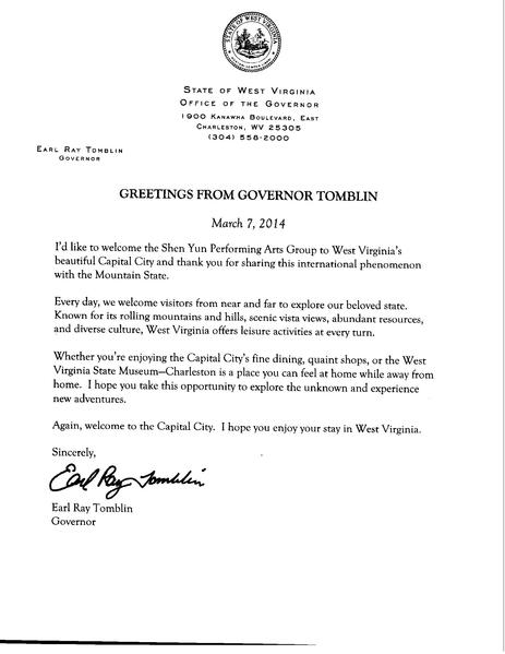 西維州州長Earl Ray Tomblin向神韻藝術團的賀信。(大紀元資料圖片)