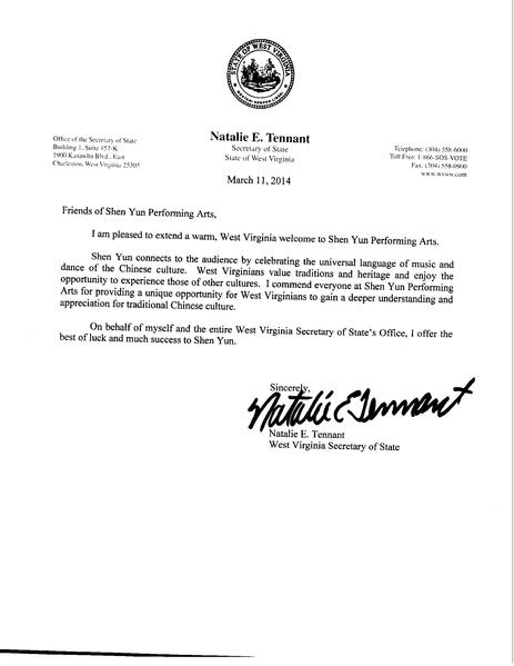 西維吉尼亞州州務卿Natalie E. Tennant給神韻藝術團發的賀信。(大紀元資料圖片)