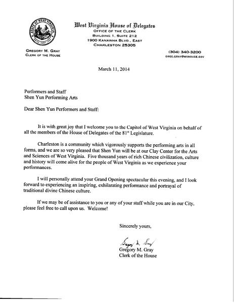 州眾議院書記長Gregory M. Gary給神韻藝術團的賀信。(大紀元資料圖片)