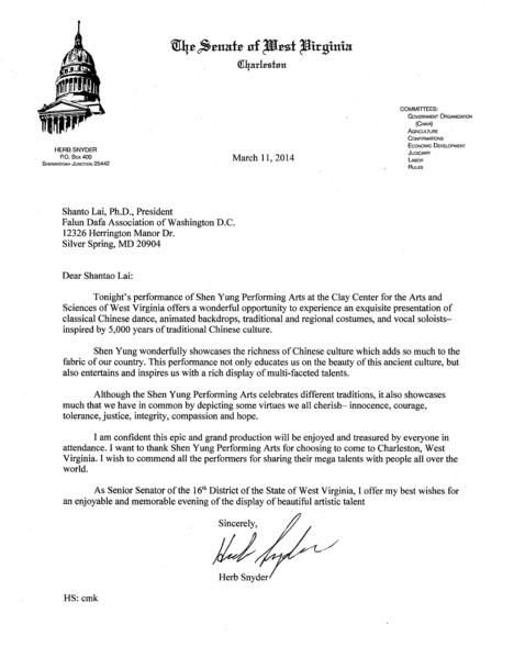 西維吉尼亞州參議員Herb Synder給神韻藝術團的賀信。(大紀元資料圖片)