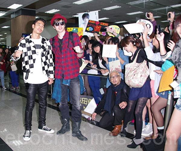 AKIRA、城田优于2014年3月16日到达台北松山机场。(黄宗茂/大纪元)
