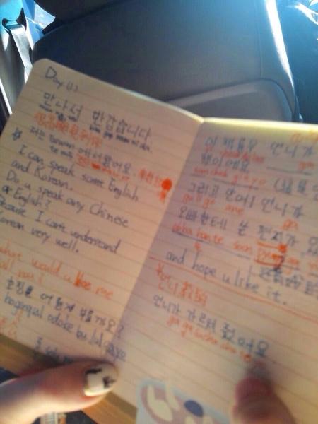 郭雪芙苦练韩语笔记本。(FOX提供)