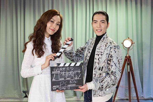 两人应邀卫视中文台为其即将在台湾首播的韩剧《继承者们》拍摄推荐短片。(卫视中文台提供)