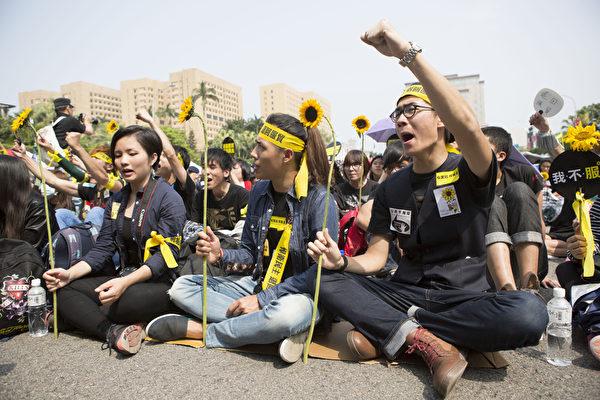 2014年3月30日,台灣台北,反服貿集會在總統服前的凱達格蘭大道舉行。圖為參加集會的民眾穿上黑衣,頭綁布條,手持象徵反服貿行動的太陽花。(陳霆/大紀元)