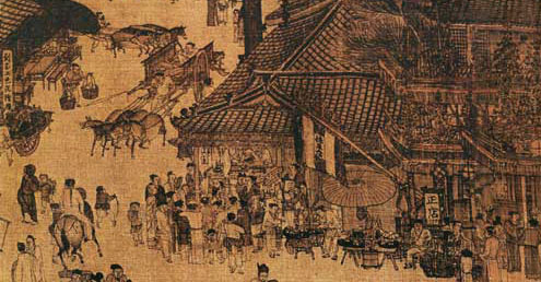 宋张择端清明上河图所绘京城正店。(故宫博物院提供)