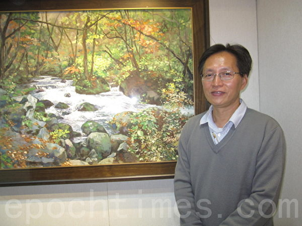 黄崇洪油画展假孟焦画廊热列展出。(李容耕/大纪元)