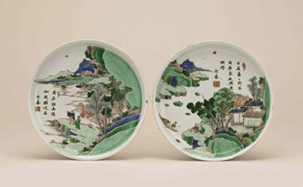 绘有中国南方山水的碟子,江西景德镇,清朝康熙年间(大英博物馆提供)