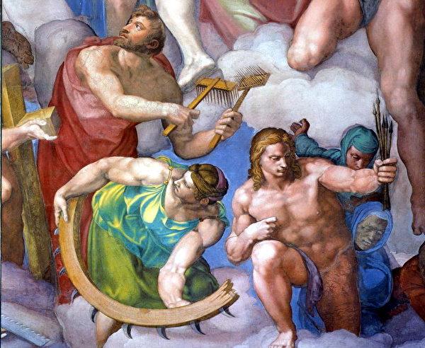 手持受难刑具的殉道圣徒,左起圣布莱兹、圣凯瑟林、圣赛巴斯虔。其中圣布莱兹和圣凯瑟林经过修改。