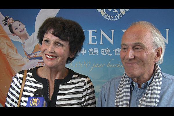 退休企业家Rob Valentin携夫人Carla Valentin女士一起来观看演出,他们表示非常喜欢神韵演出,并感谢艺术家们全球巡演。(新唐人截图)