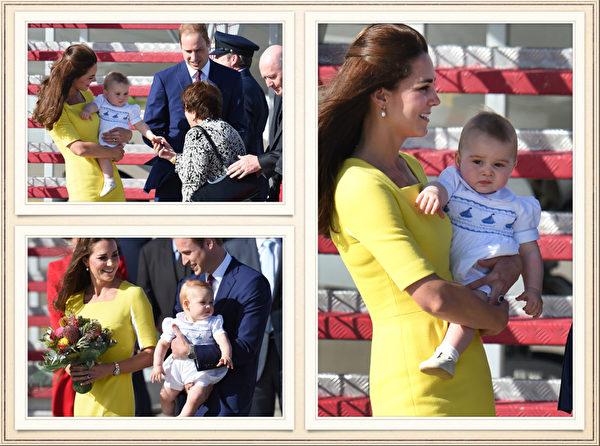英国威廉王子一家,4月7日展开为期19天的纽澳访问之旅。图为2014年4月16日,英国威廉王子和凯特王妃,抱着乔治小王子抵达澳洲悉尼。(AFP)