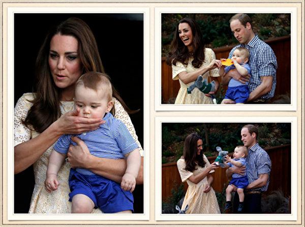 英国威廉王子一家,4月7日展开为期19天的纽澳访问之旅。图为2014年4月20日,澳洲悉尼,凯特王妃和威廉王子带着儿子乔治王子到澳洲悉尼的塔朗加动物园(Taronga Zoo)参观。(AFP)