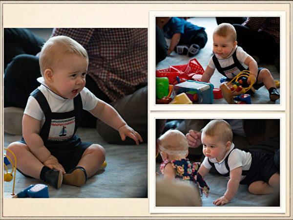 英国威廉王子一家,4月7日展开为期19天的纽澳访问之旅。图为2014年4月9日,威廉王子夫妻受邀带着乔治参加一场新手父母联谊活动。乔治小王子和10名同龄玩伴同乐。(AFP)