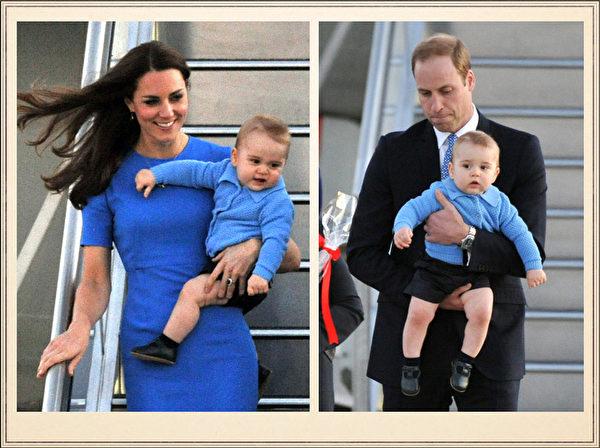 英国威廉王子一家,4月7日展开为期19天的纽澳访问之旅。图为2014年4月20日,澳大利亚坎培拉,威廉王子夫妇携乔治小王子搭专机抵达。(AFP)