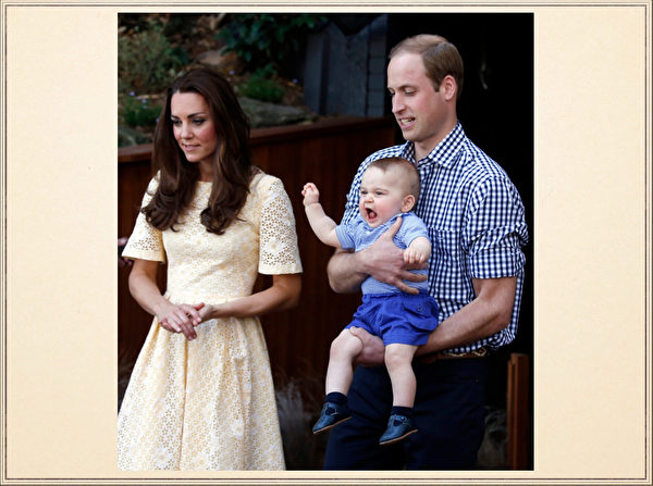 英国威廉王子一家,4月7日展开为期19天的纽澳访问之旅。图为2014年4月20日,澳大利亚悉尼,凯特王妃和威廉王子带着乔治王子到当地的塔朗加动物园参观。(AFP)