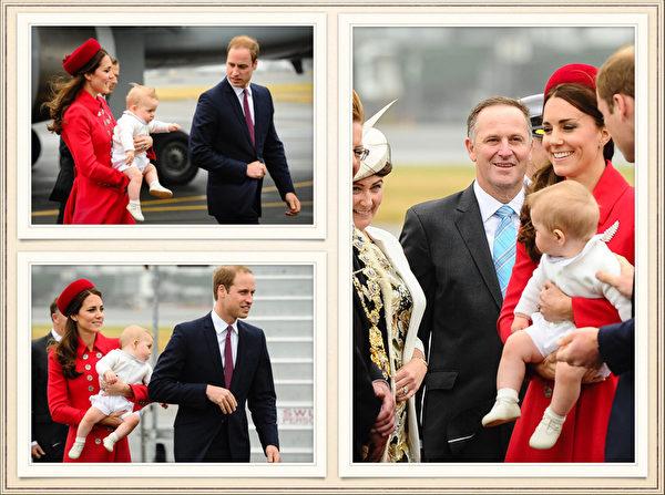 英国威廉王子一家,4月7日展开为期19天的纽澳访问之旅。图为2014年4月7日,威廉王子一家抵达新西兰威灵顿。(MARK TANTRUM/AFP)
