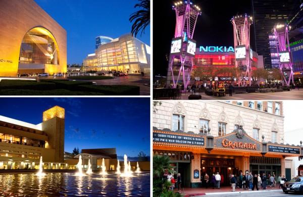 2014年3月11日至30日,神韵令世界影艺之都洛杉矶为之倾倒。神韵在大洛杉矶剧院演出:橙县演艺中心(左上)、洛杉矶诺基亚剧院(右上)、千橡市民艺文广场(左下)和圣巴巴拉格兰纳达剧院(右下)。(季媛/大纪元)