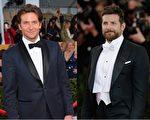 左:布莱德利•库珀出席2013年美国导演工会奖颁奖礼;右:2014年5月出席纽约时装学院慈善晚宴的库珀。(大纪元合成图/Getty Images)