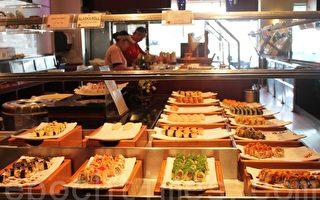 Heebeen 韓國自助餐廳壽司每天種類不同。(攝影:何伊/大紀元)