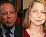 《紐約時報》突然解除了艾布拉姆森(Jill Abramson)(右)的主編職務, 由副主編巴奎特(Dean Baquet)(左)取代她。(大紀元合成圖)