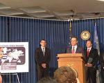 紐約南區聯邦檢察官巴拉拉與FBI19日宣布,全球最大規模打擊網絡犯罪的行動成果。(蔡溶/大紀元)