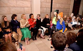 2014年5月19日,(左起)模特劳伦•布什与丈夫——拉夫•劳伦集团执行副总裁大卫•劳伦及演艺明星乌玛•瑟曼、艾丽西亚•凯斯、艾迪•法尔科(左六)等出席拉夫•劳伦2014秋季童装秀。(Andrew H. Walker/Getty Images for Ralph Lauren)