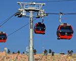 玻利维亚斥资2.3亿美元打造全球最高缆车路线,总统莫拉莱斯(Evo Morales)5月30日宣布启用第1期。(AIZAR RALDES/AFP/Getty Images)